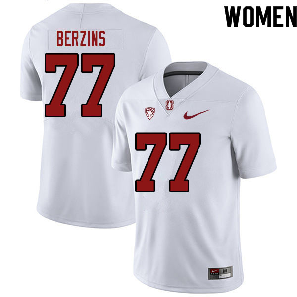 Women #77 Logan Berzins Stanford Cardinal College Football Jerseys Sale-White